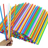 Tomnk 300PCS 10.3 Inch Disposable Color Drinking Straws Plastic Straws