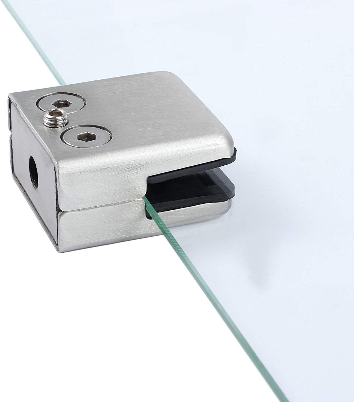 304 Edelstahl Glasklemme Glasklemme Glasklemme verstellbare Halterung Glashalterung hinten flach f/ür Gel/änder Treppe Handlauf