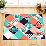 LB Orange Flamingo Monstera Palm Leaves Rhombus Pattern Small Shower Carpet, Safe Non Slip Backing Comfortable Soft Surface, Tropical Style Decor for Bathroom 15 x 23 Inches