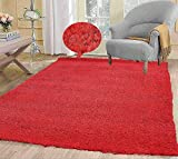 LA Rug Linens Soft Cozy Color Solid Shag Area Rug Contemporary Living and Bedroom Soft Shag Area Rug, Red, 10 L X 8 W (Popcorn Red)