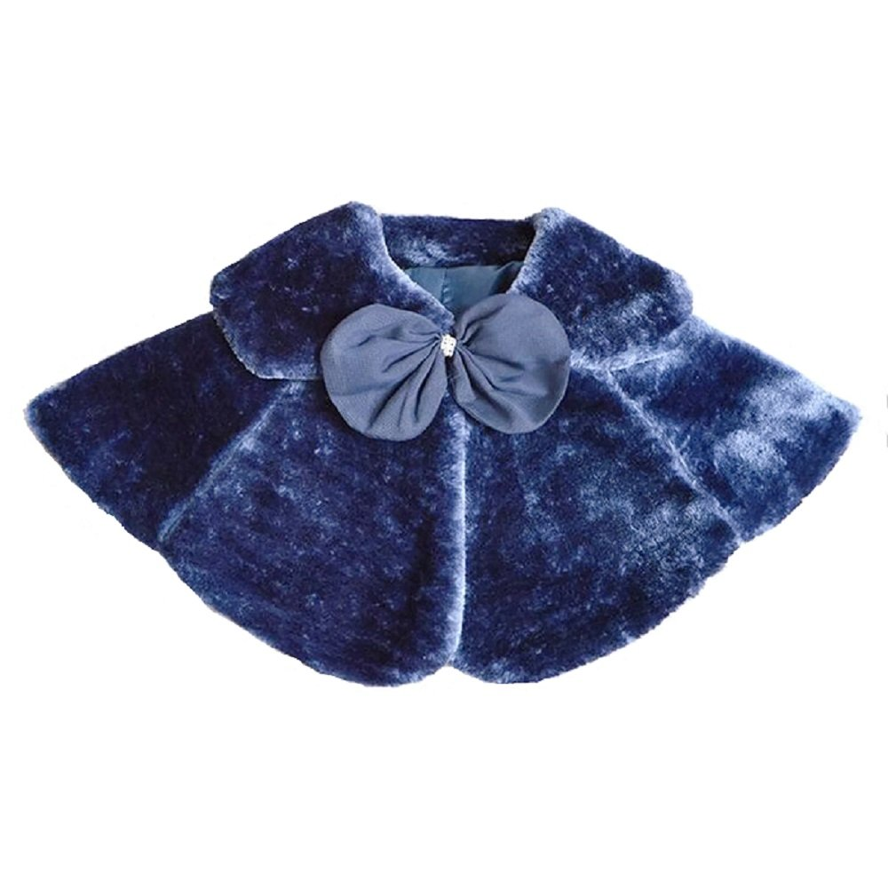 Dastan Sweet Girls Princess Faux Fur Cape Shoulder Coat - Bow Tie- 1-14 Years-White Ivory and Dark Blue (Small, Dark Blue)