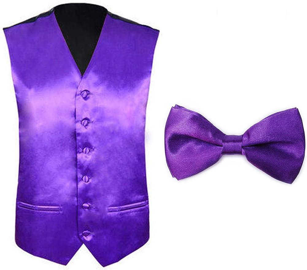 TOPTIE Tuxedo Wedding Dress Vest & Bow Tie Set for Men
