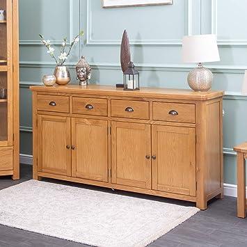 The Furniture Outlet Portland Oak Extra Large 4 Door Sideboard