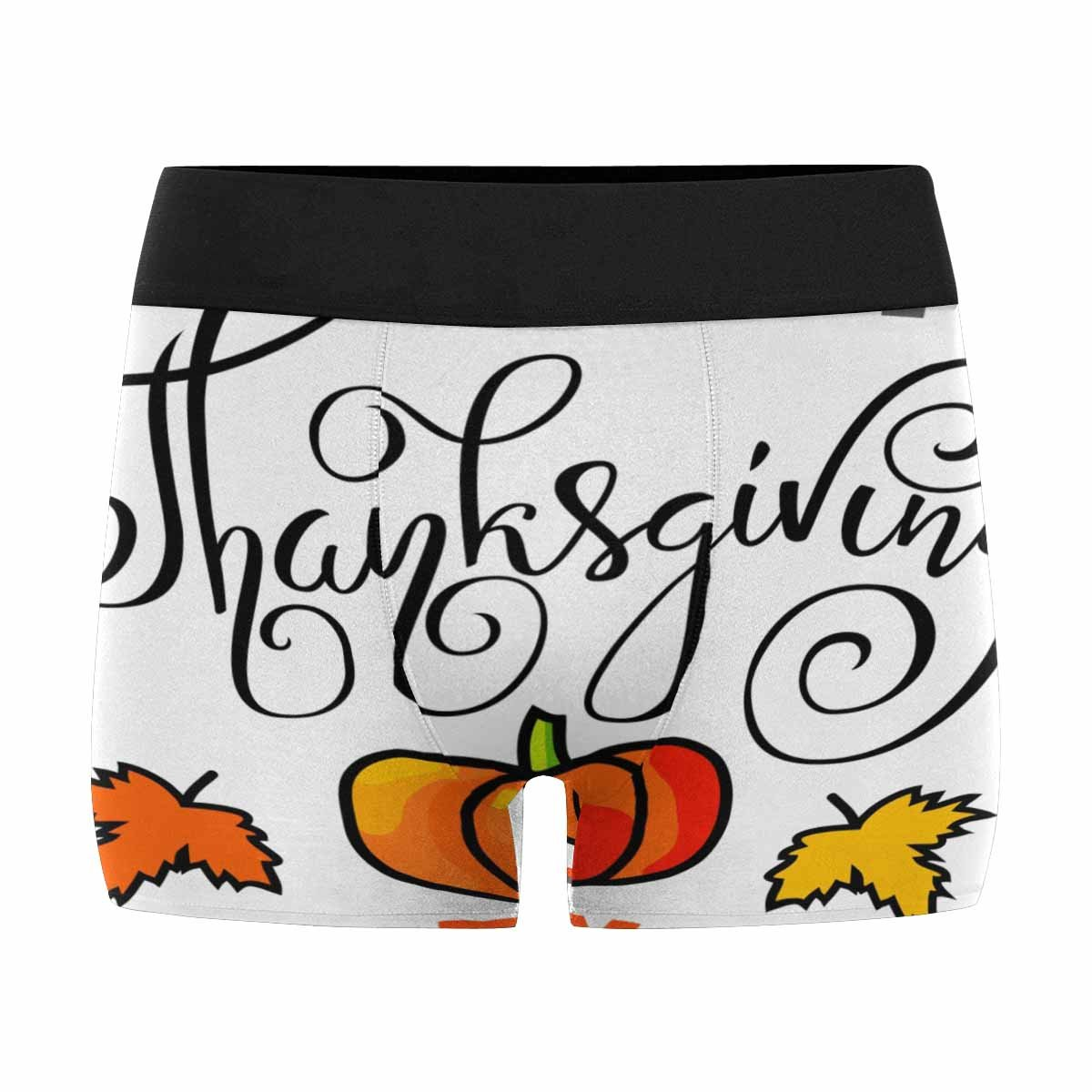 Text Greeting and Autumn Leaves Frames INTERESTPRINT Mens All-Over Print Boxer Briefs Thanksgiving XS-3XL