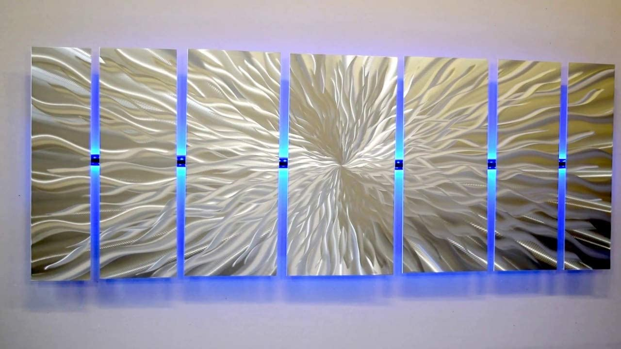 Modern Abstract Metal Wall Art Large Metal Art Panels Cosmic Energy, LED Color Changing LED Sculpture Painting Decor RGB