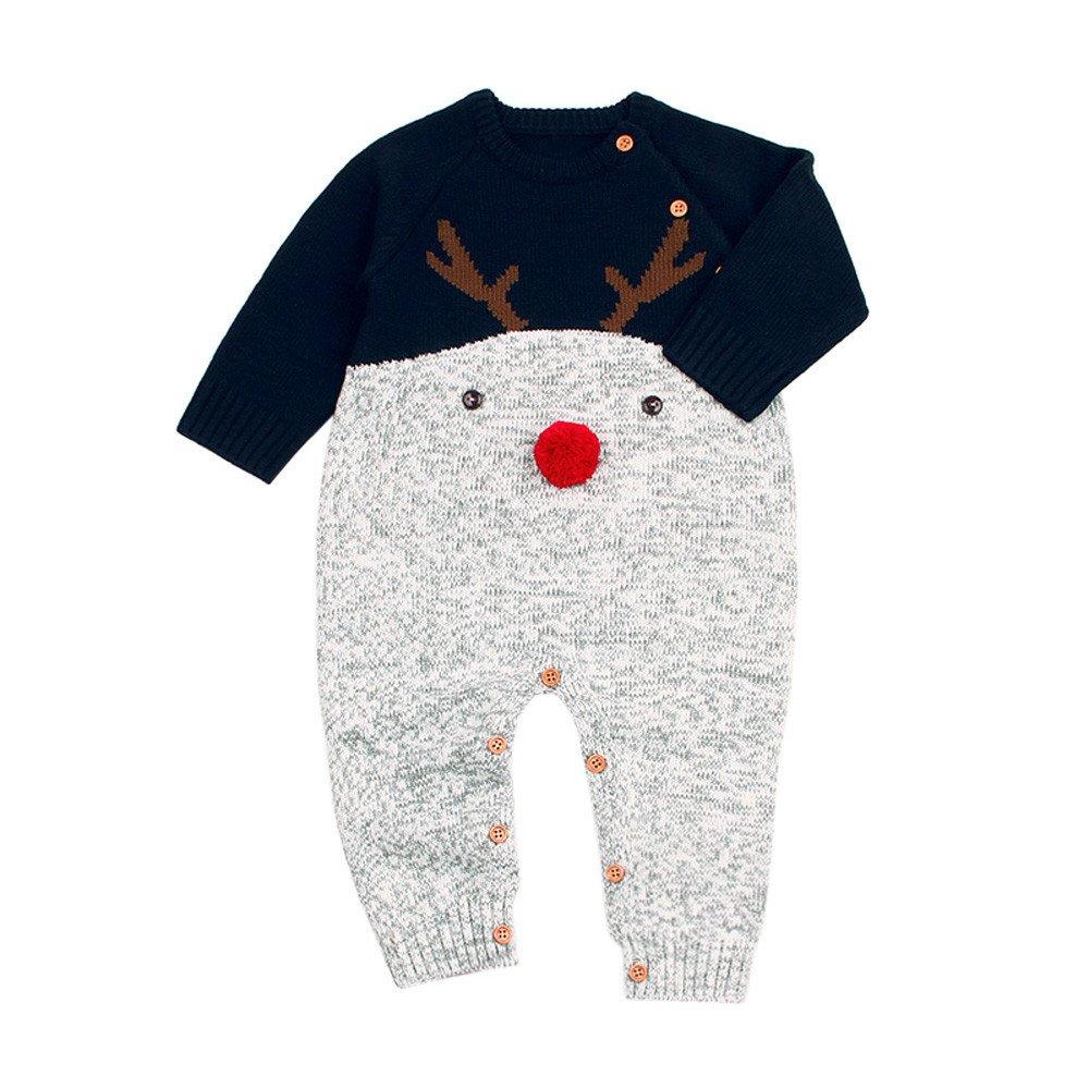 Milktea Kleinkind Weihnachten Hirsch Jungen Mä dchen Baby gestrickt Spielanzug Overall Outfits Kleidung Weihnachtshirsch Flanell-Pyjamas gemü tlich Cute Festliche Kleidung