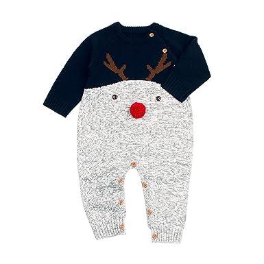 Sunenjoy Bébé Garçons Filles Hiver Chaud Tricot Pull Adorable Modèle Elk  Noël Tout-Petits Manches acbeb3a5699