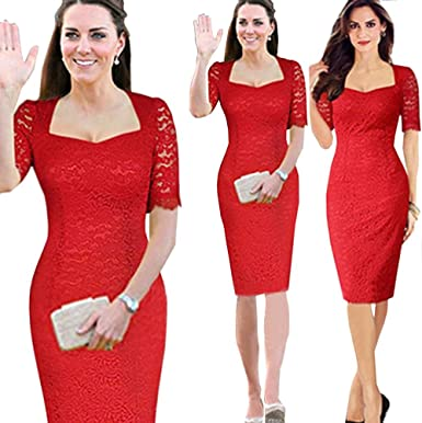 Unomatch Kate Middleton Wearing Red Lace Dress At Amazon Women S