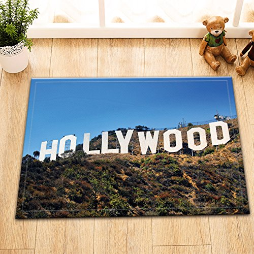 LB Hollywood Billboard Sign Small Shower Rugs for Boys Kids, Safe Non Slip Rubber Backing Comfortable Soft Surface, Los Angles Cityscape House Decor 15 x 23 Inches (Rug England Floor)