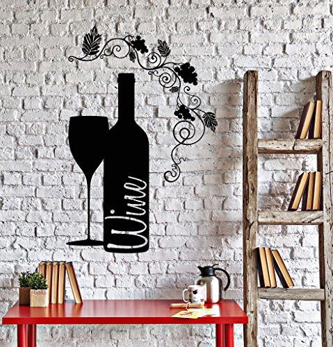 Vinyl Wall Decal Wine Bottle Glass Grape Alcohol Bar Stickers  Black