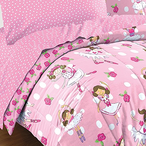 Charming, Convenient and Stylish Dream Factory Tippy Toes Ballerina Bed in a Bag with Sheet Set, Pink with White Polka Dots and Rose Buds, Full
