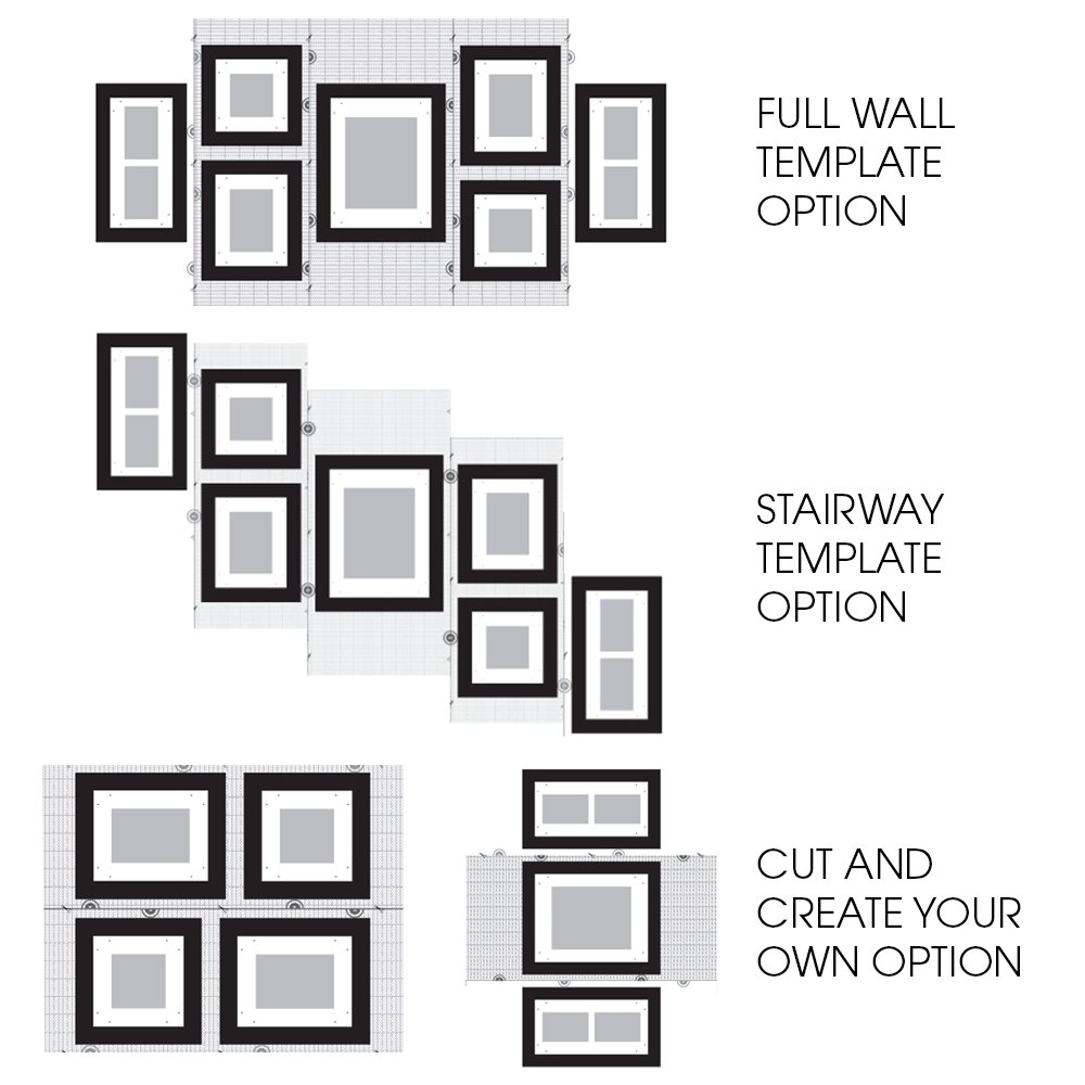 wall templates for hanging pictures - galleon gallery perfect 7 piece black wood photo frame