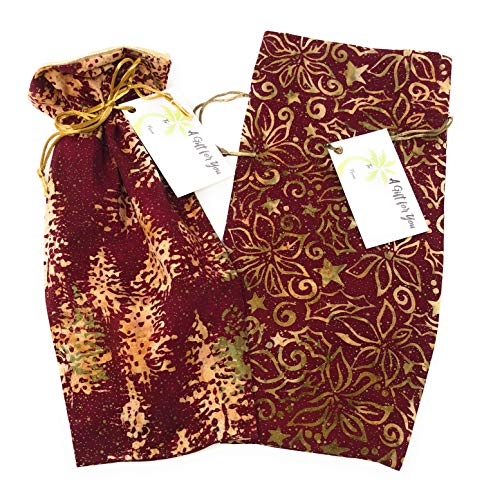 (Bali Holiday Fabric- Reusable Drawstring Gift Bag | Eco-Friendly Alternative to Paper Giftwrap for Wine Bottle | Christmas, Winter Holidays | Cotton Cloth, Fully-Lined Lamé, Medium 13.25