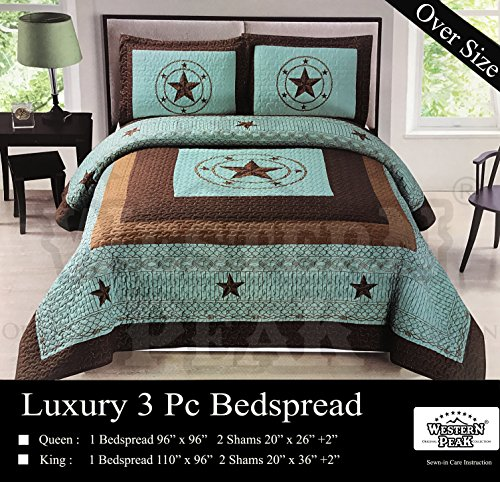 - Western Peak 3 Pc Luxury Western Barb Wire Texas Lone Star Horse Shoe Pistol Gun Cabin Lodge Barbed Wire Luxury Quilt Bedspread Oversize Comforter (Queen, Turquoise Star)