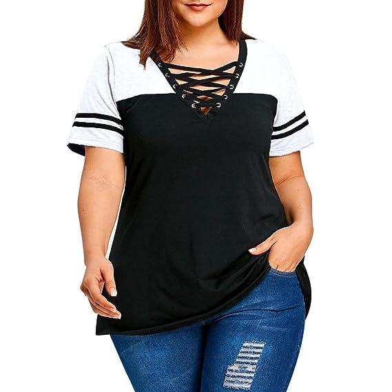 Camisa Mujer Patchwork,Blusas de Manga Corta con Cuello Cruzado Cruzado Tallas Grandes