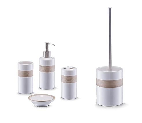 Bad Accessoire Set 5-teilig Keramik Design beige-braun weiss ...