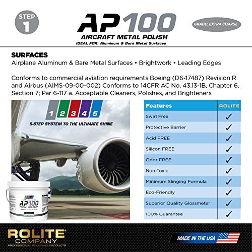 AP100 Aircraft Metal Polish (2lb) - Extra Coarse - for Airplane Aluminum & Bare Metal Surfaces, Brightwork, Leading Edges - Meets Requirements of Boeing and Airbus - Minimal Sling - Low Odor by Rolite (Image #3)