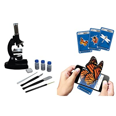 Kids Tech Augmented Reality Die-cast Microscope Kit VA90029 Includes 10 AR Cardsup to 1200X Magnification Power & a Set of Tools, 300x, 600x and 1200x Magnification Power, Black: Toys & Games
