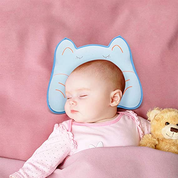 Suitable for Cradle Bed Trolley Car Seat,A Invisible Zipper Easy to Disassemble Flat Head Baby Pillow Newborn Toddler Infant Pillow for Head Shaping