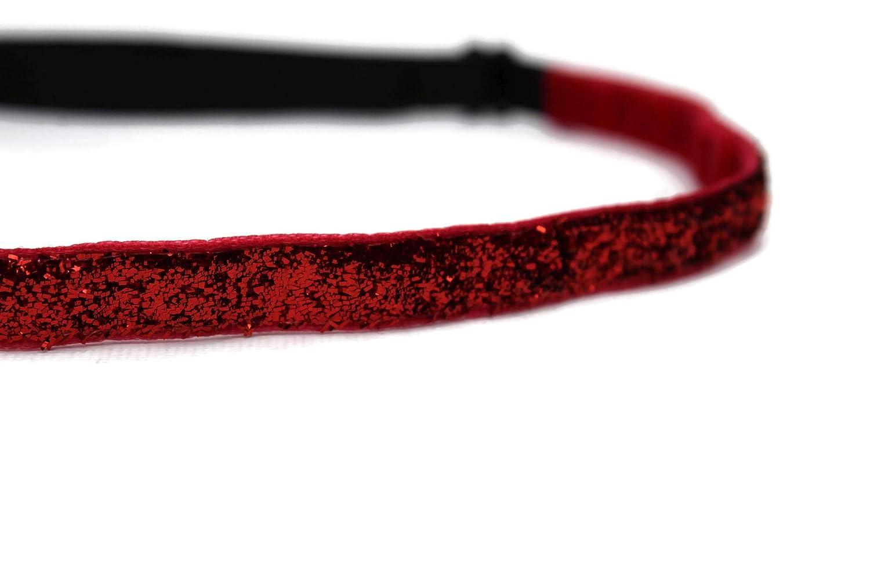 BEACHGIRL Bands Womens Headband Non Slip Adjustable Workout Hairband Skinny Red Glitter