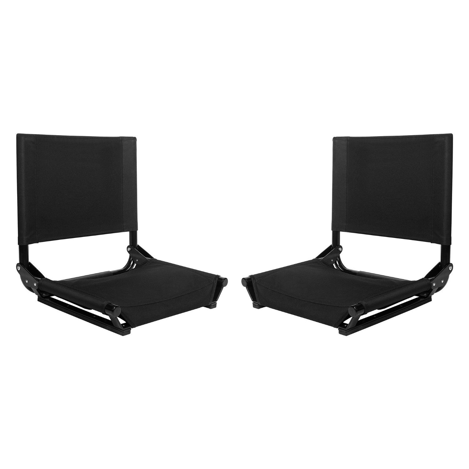 Black Stadium Chairs 2 Pack Bleacher Bench Soft Cushioning Game Seat Outdoor
