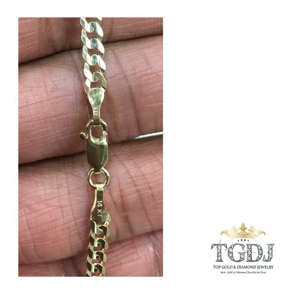 TGDJ 14k Yellow Gold 2.7 mm Curb Cuban Chain - 7/16/18/20/22/24'' (20 Inches) by Top Gold & Diamond Jewelry (Image #3)