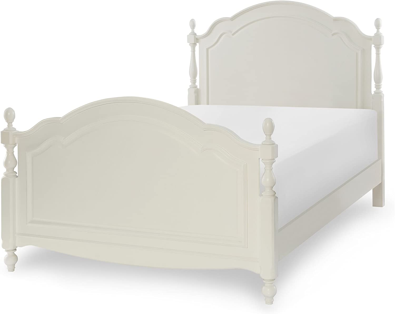 Legacy Harmony by Summerset Low Poster Headboard Full Antique Linen White Wood