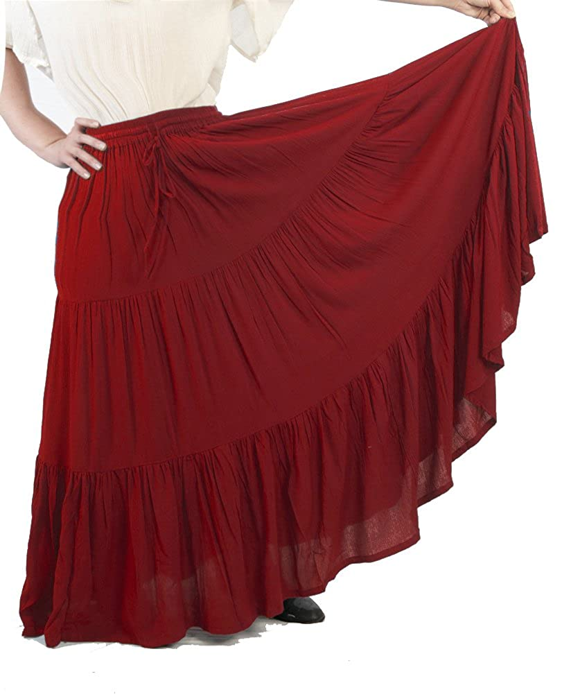Women's Romantic Renaissance 3-Tier Red Ruffled Peasant Skirt - DeluxeAdultCostumes.com