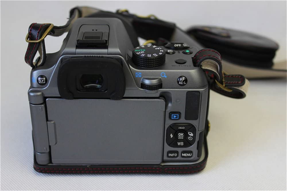 Mini Storage Bag -Brown K-S2 Case Neck Strap BolinUS Handmade PU Leather FullBody Camera Case Bag Cover for Pentax K-S2 KS2 with 16-185mm 50-200mm lens Bottom Opening Version