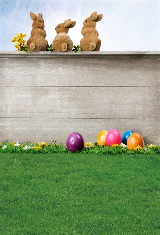 6x9 Happy Easter Backdrops Easter Eggs Photography Backdrop Green Grassland Lawn Wood Wall Backdrop Baby Newborn Backdrop Three Brown Bunny Backdrop Children Holiday Festival Photo Props