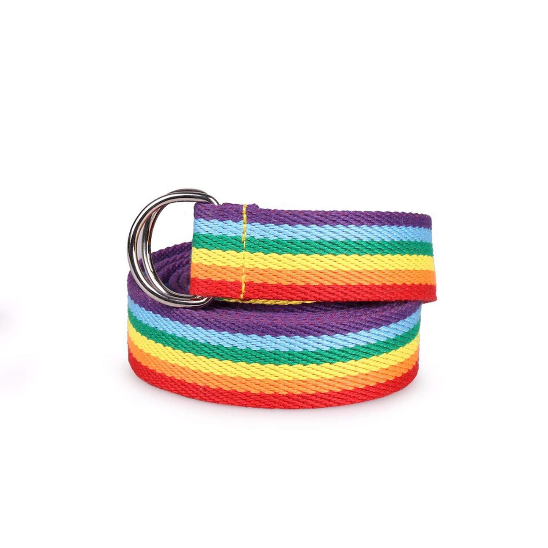 Rainbow Plain Belt Waistband Casual Canvas Belt Alloy Circle Thin Strap