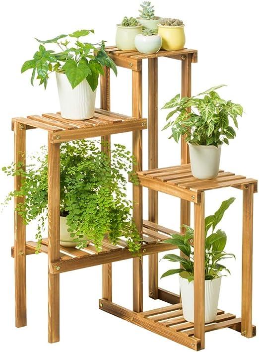 JANRON Flores Escalera Rack Estantería de Madera para macetas, diseño de Flores, para Uso en Interiores y Exteriores, Madera - L:50XW:25XH:91cm: Amazon.es: Hogar