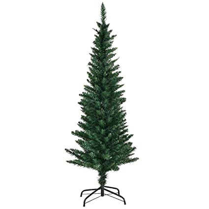 goplus 5ft pvc artificial pencil christmas tree slim tree wmetal stand for indoor and - Pencil Christmas Tree