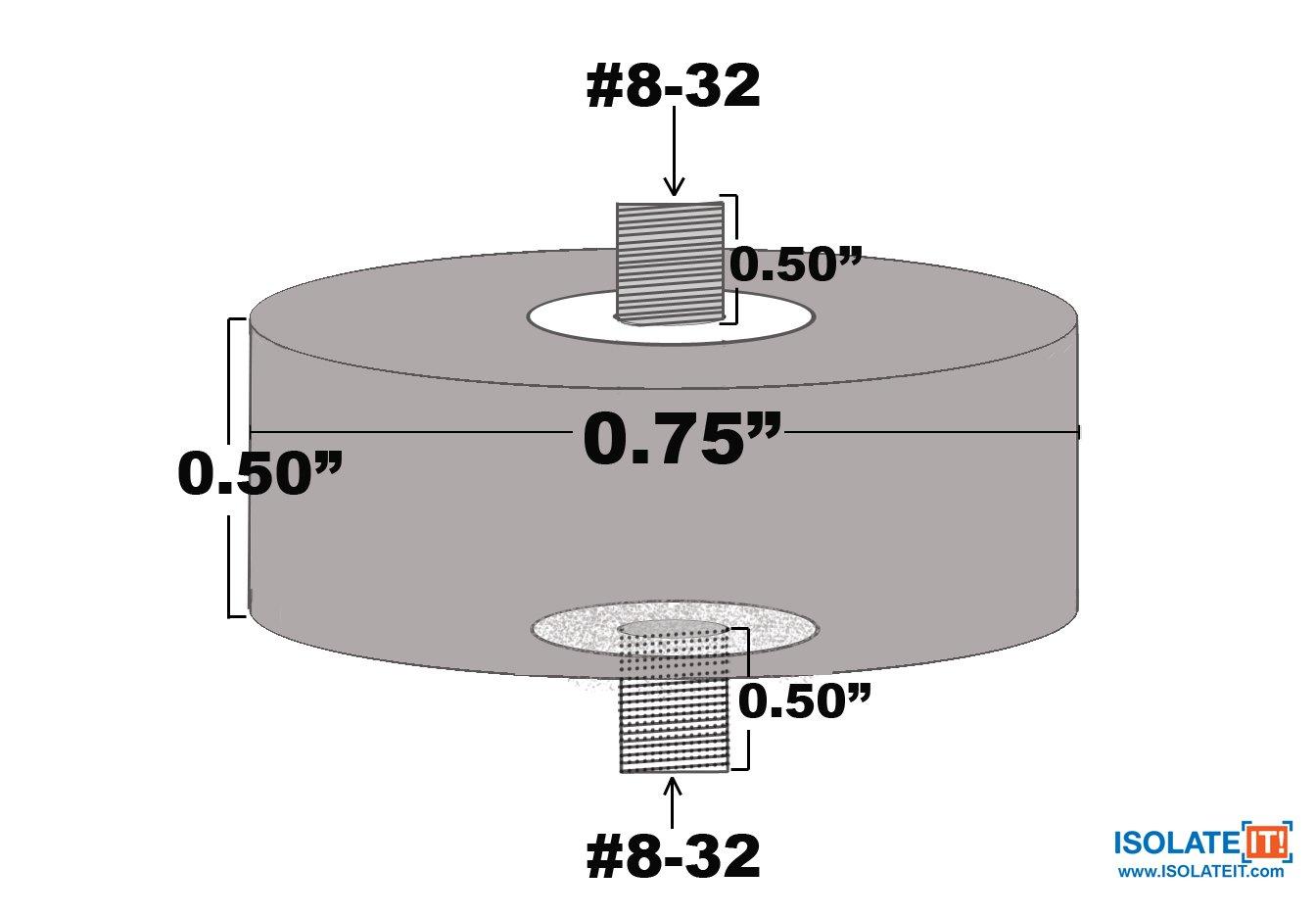 Isolate It!: Sorbothane Male/male Vibration Stud Mount - #8-32 - 1/2'' (H) - 3/4'' (Dia) 50 Duro - Set of 4