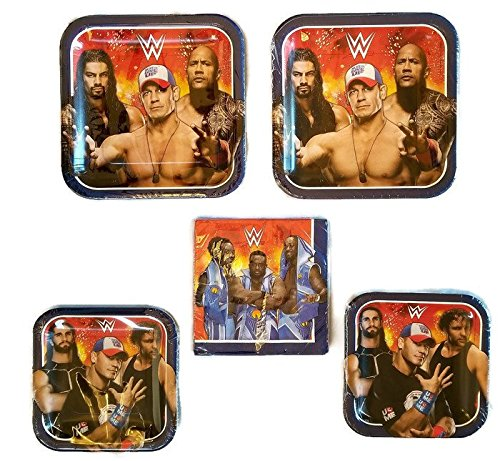 Grand Slammin' WWE Birthday Party Bundle 9'' Plates (16) 7'' Plates (16) Lunch Napkins (16) by Celebration Party Supply