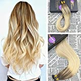Moresoo 20 inch 50g Balayage Color Chestnut Brown/#6 to Blonde(Color 613) 100% Remy Human Hair Extensions Pre Bonded I Tip Hair Extensions 50 Strands 1g/s