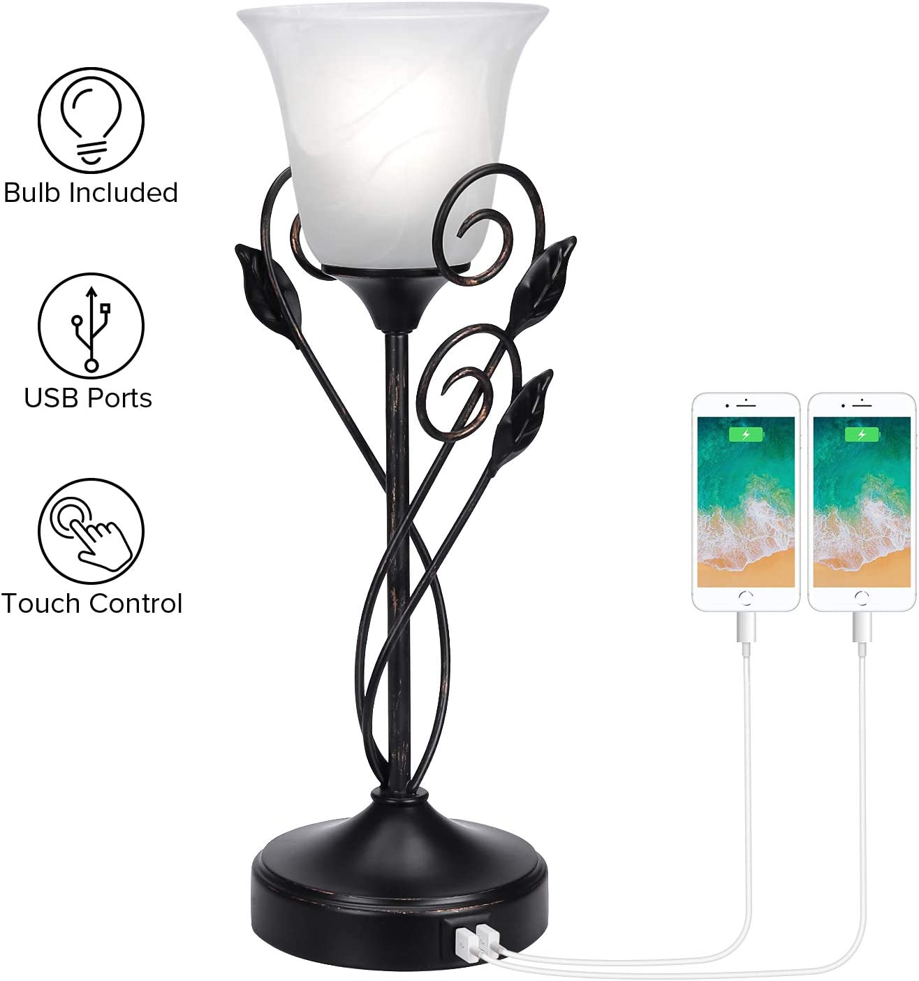 Touch Control Table Lamp with Dual USB Ports, 3-Way Dimmable Decorative Accent Nightstand Lamp Rustic Leaf Lamp Torchiere Table Lamp with Glass Shade for Living Room Bedroom Dresser, LED Bulb Included