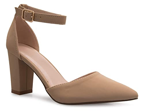 a181d806fb4 Olivia K Women's Sexy D'Orsay Ankle Strap Pointed Toe Block Heel Pump -  Classic, Comfortable