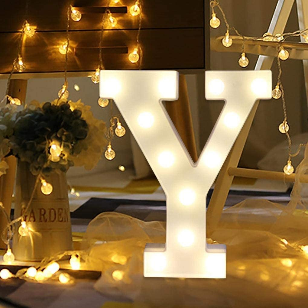 LED Marquee Letter Lights Sign 26 Alphabet Light Up Letters Sign for Night Light Wedding Birthday Party Battery Powered Christmas Lamp Home Bar Decoration (Y)