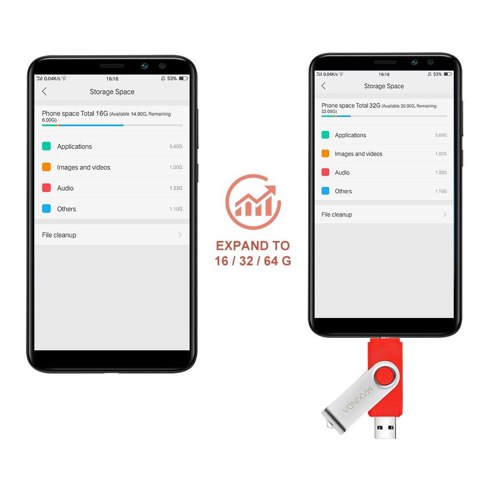 MAXINDA 16GB OTG Telefono Mobile /Tablet PC Trasformazioni Duale Micro USB / USB 2.0 Memoria Unità Flash In Movimento Disco USB (Rosso)
