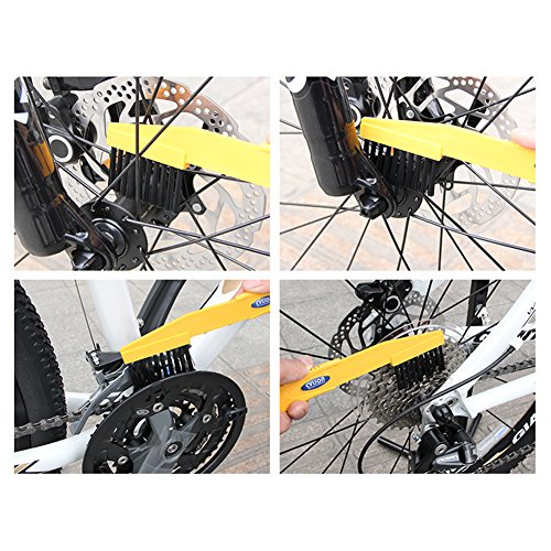 Floratek 6 PCS Portable Bicycle Cleaning Tool Kit Bicycle Chain Cleaner Mountain Road Bike Clean Machine Tire Brushes Coral Gloves by Floratek (Image #8)