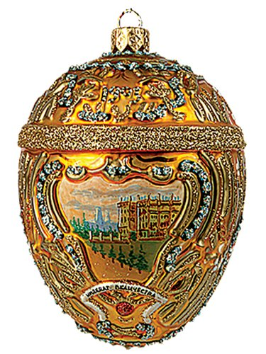 Pinnacle Peak Trading Company Faberge Inspired Gold Hermitage Egg Polish Glass Christmas or Easter Ornament