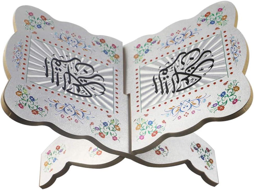EXCEART Wooden Book Shelf Holy Book Stand Holder Bible Bookshelf Silver