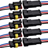 3 Pin Connector Waterproof Connector,Male and Female Way 16 AWG Wire Suitable for car Truck, Boat and Other Wire…