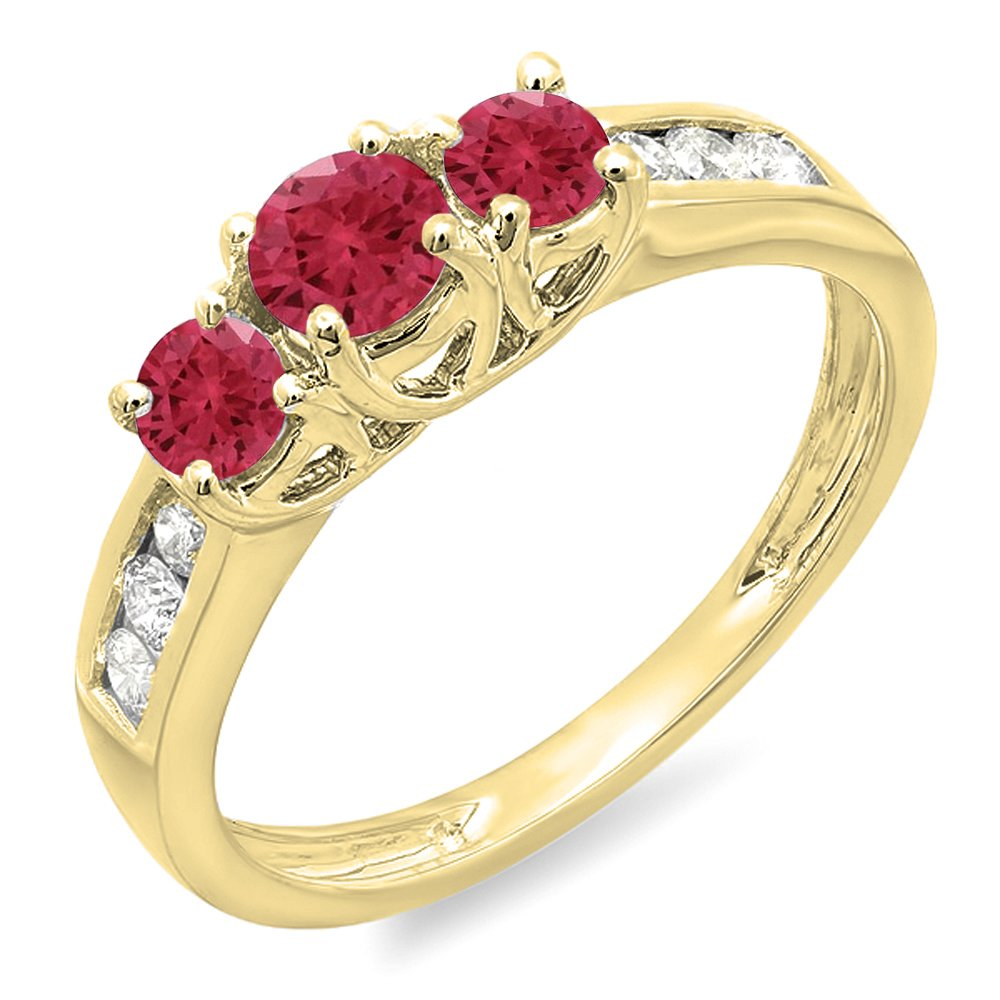 Dazzlingrock Collection 14K Round Cut Ruby & White Diamond Ladies 3 Stone Engagement Bridal Ring, Yellow Gold, Size 10