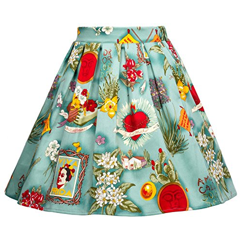 GRACE KARIN Little Girls Pleated Vintage Floral Print Skirts 6-7yrs CL603-4
