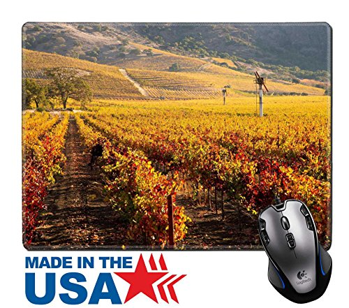 "MSD Natural Rubber Mouse Pad/Mat with Stitched Edges 9.8"" x 7.9"" IMAGE ID: 27874316 Napa Valley Vineyard in Autumn - Edge Napa Valley Cabernet"