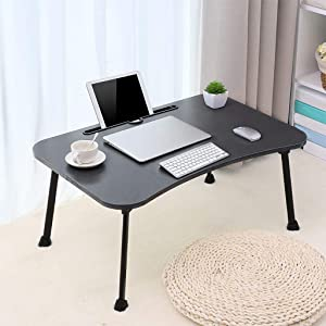Bed Tray Foldable Laptop Desk, Lazy Laptop Table Small Desk Home Bedroom Multipurpose Tabletop Multifunction Laptop Desk (Black-Horseshoe-Shape Feet)