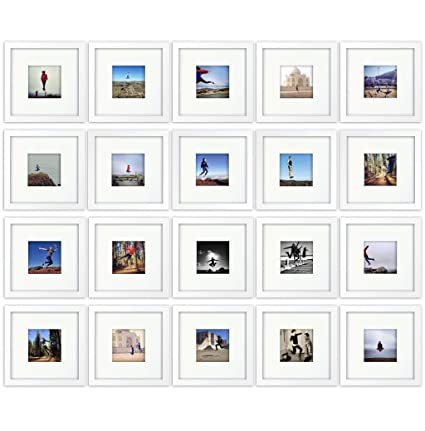 20-set, Tiny Mighty Frames - Wood, Square, Instagram, Photo Frame, 4x4  (Mat), 8x8 (20, White)