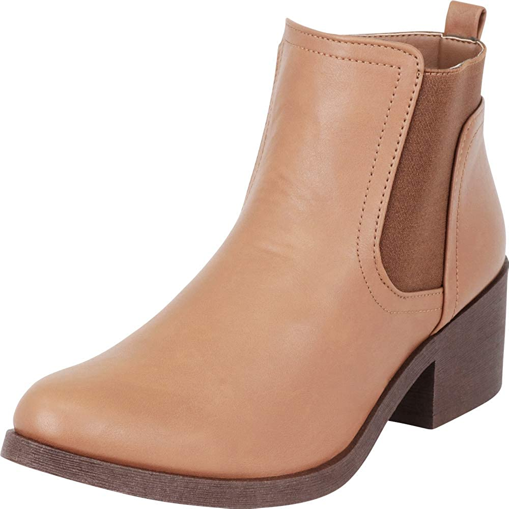 Cambridge Select Womens Chelsea Side Elastic Stretch Low Chunky Heel Ankle Bootie